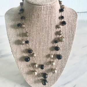 Black & Gold Beaded 3-tier Necklace